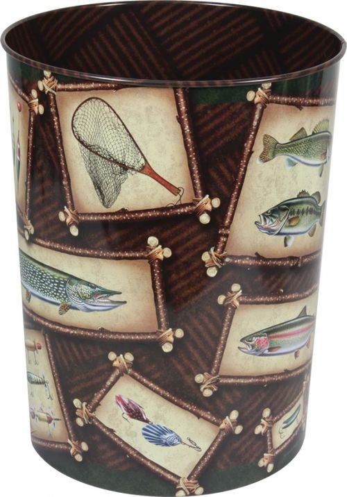 "This Fishing Trash Can features art by JQ Licensing. It is almost too nice to put trash in! Add a small plastic bag and you have a great fishing themed wine or beer bucket! Dimensions: 10.5"""" T Made o"