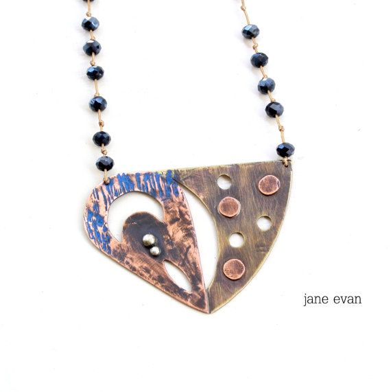 Teardrop Triangle Rosario Statement Necklace by janeevanmetalwork