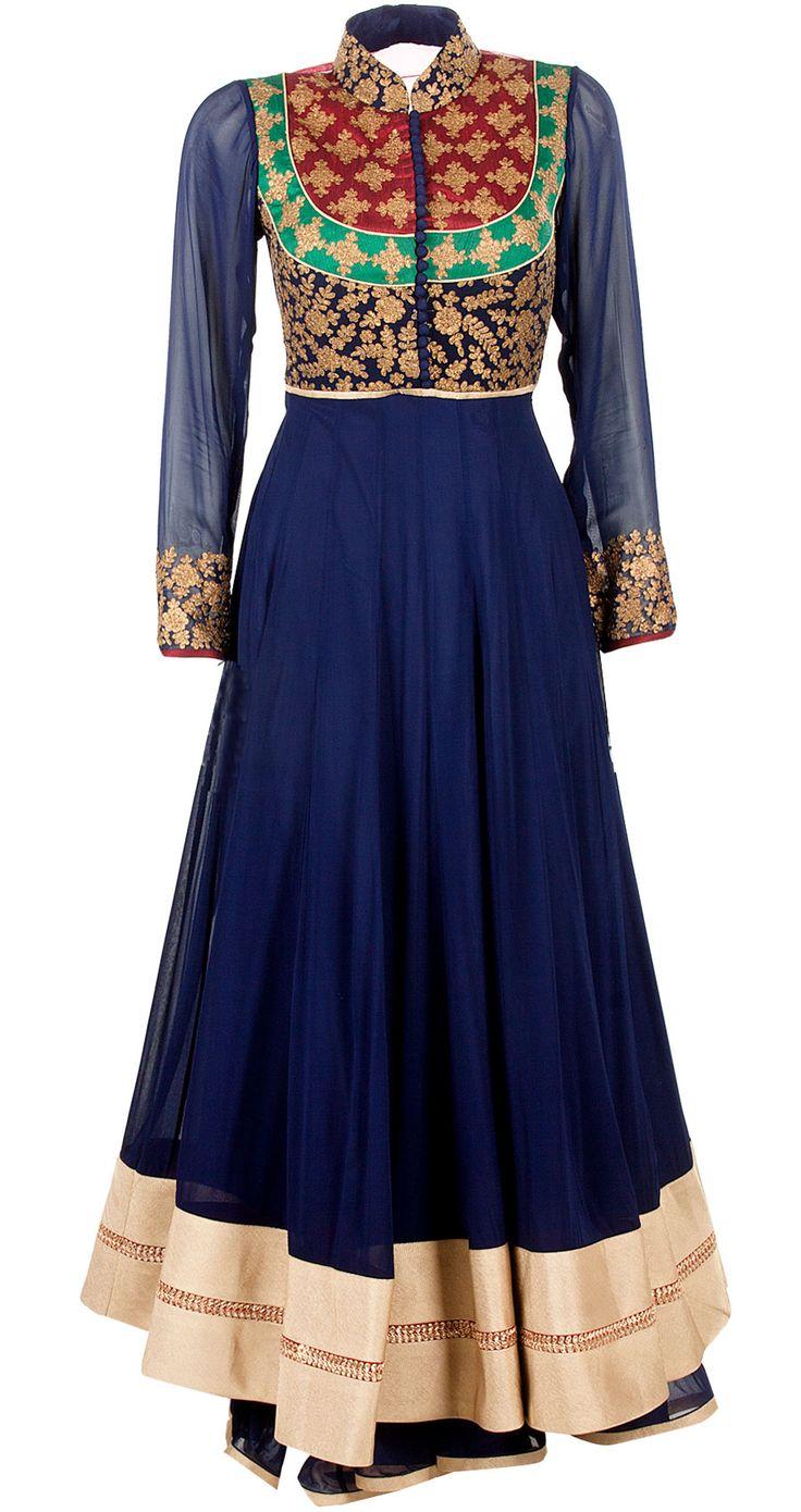 Blue maharani neckline anarkali by SVA. Shop now at perniaspopupshop.com