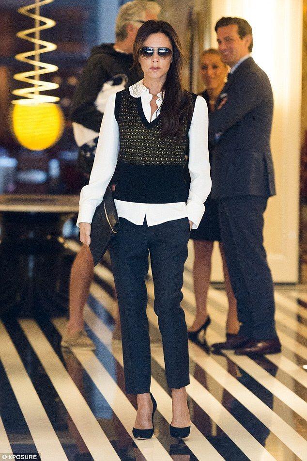 Victoria Beckham (in Casadei shoes, Victoria Beckham clutch) - In New York.  (September 2014)
