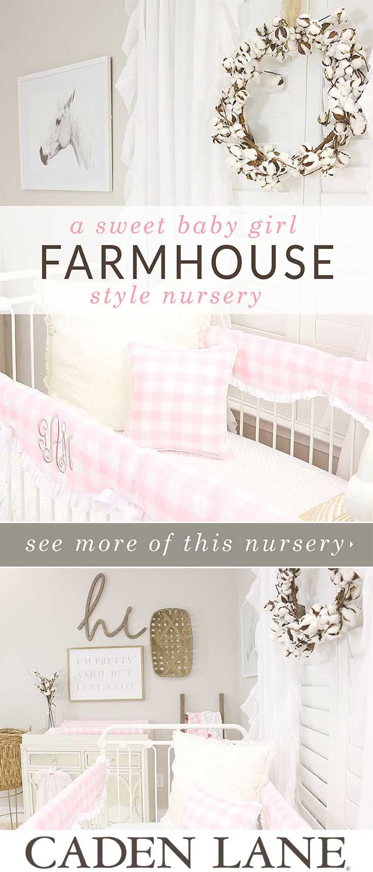 This is the Sweetest Pink & Neutral baby girl nursery. Loving the rustic farmhouse style!