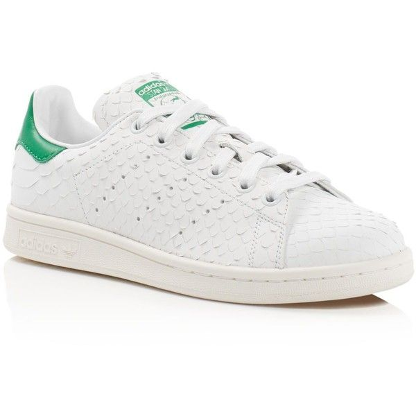adidas Stan Smith Snake-Embossed Lace Up Sneakers (€110) ❤ liked on Polyvore featuring shoes, sneakers, lace up shoes, adidas shoes, laced shoes, adidas sneakers and laced sneakers