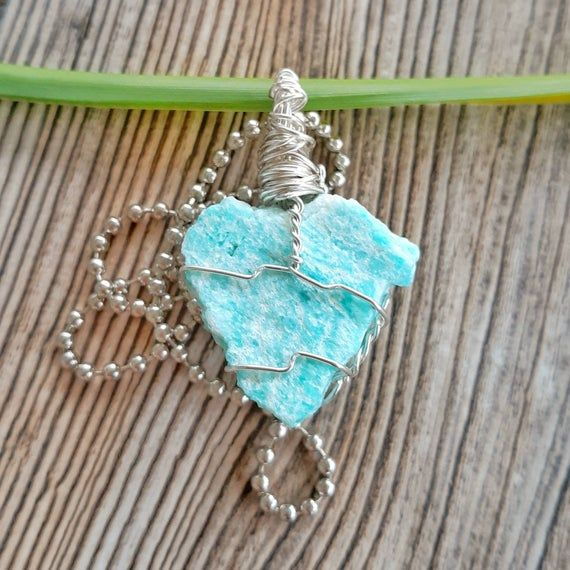 Amazonite Necklace Wire Wrapped Amazonite Pendant Throat Chakra