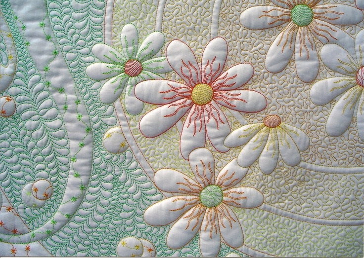 A Fabric Addiction: July 2011 Daisy Quilt by Phillipa Naylor. I love this. A Whole Cloth Quilt, with all of the color coming from the thread/quilting.