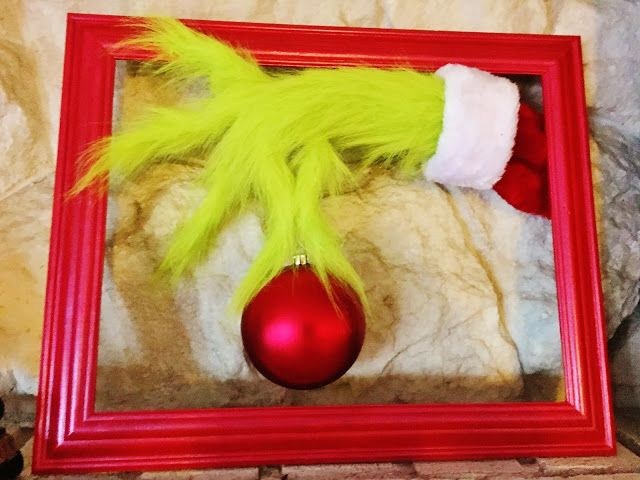 Make a Grinch hand for your Christmas decor.