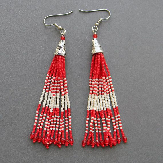 Dark red and cream seed bead earrings  fringe by Anabel27shop,