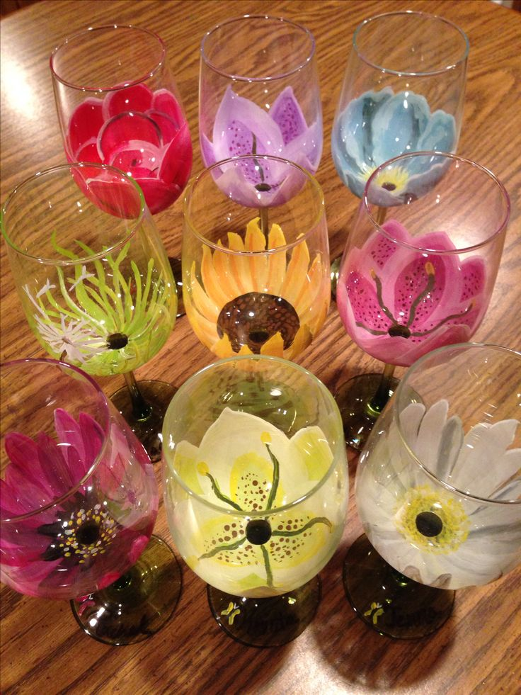 Great gift for girlfriends! I hand painted my friends their favorite flower on a $1 wine glass!  By Rachel M