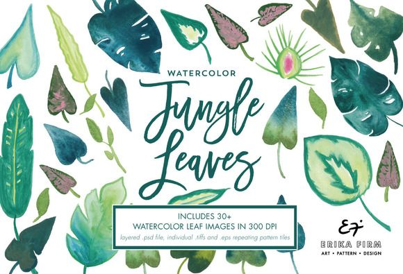 Watercolor Green Jungle Leaves by ErikaFirm on @creativemarket