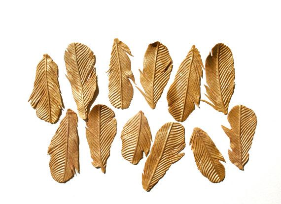 Edible Gold Feathers 1 dozen Bride's by andiespecialtysweets