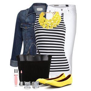 С чем носить желтые балетки: белые джинсы и полосатая майка