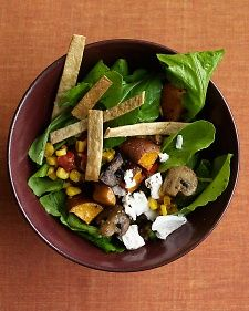 Smart tips for preparing + planning a week's worth of office lunches.: Tortilla Strips, Sweets, Food, Recipes, Baked Tortilla, Roasted Sweet Potatoes, Arugula Salad, Mushrooms