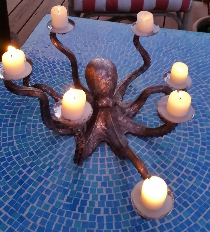 Octopus Silvered Candle Holder