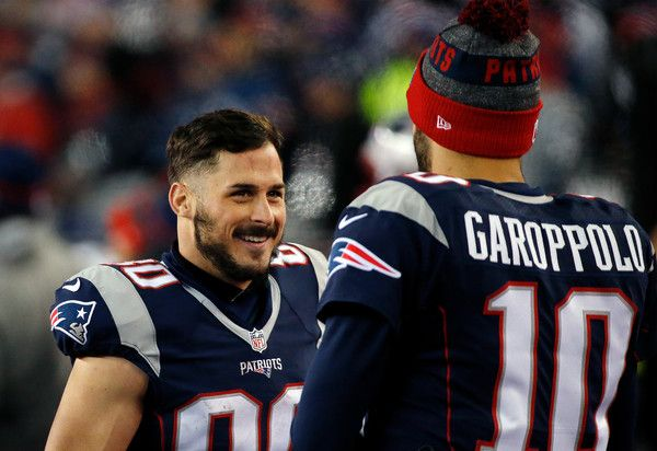 Danny Amendola Photos Photos - Danny Amendola #80 and Jimmy Garoppolo #10 of the New England Patriots celebrate on the sideline in their teams win in the AFC Championship Game against the Pittsburgh Steelers at Gillette Stadium on January 22, 2017 in Foxboro, Massachusetts. - AFC Championship - Pittsburgh Steelers v New England Patriots