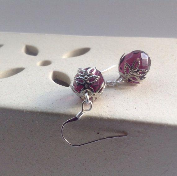 Amethyst silver dangles  purple czech glass by UtterlyLovelyStuff, £7.50