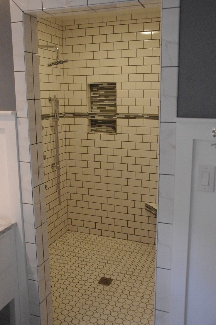 White subway tile shower with glass inserts after bathroom for Bathroom ideas subway tile