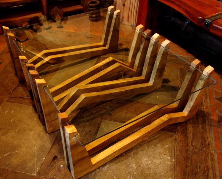 Mesa de Centro de costillas de laurel de una sola pieza con cristal de 9 mm de espesor de 0.90x1.20  www.facebook.com/nativoredwoodsa