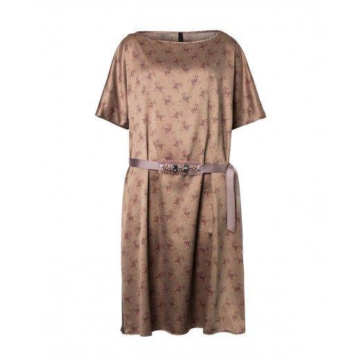 Vestito maniche corte, scollo rotondo, in tessuto operato, leggermente svasato, con cintura gioiello.4A4PSV4A5 GOLD