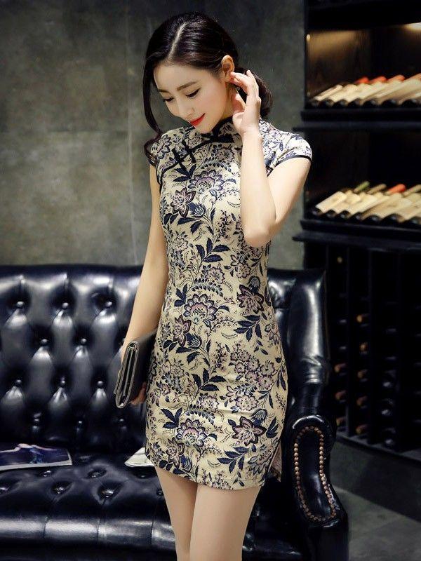 Short Modern Qipao / Cheongsam Dress in Floral Print - CozyLadyWear