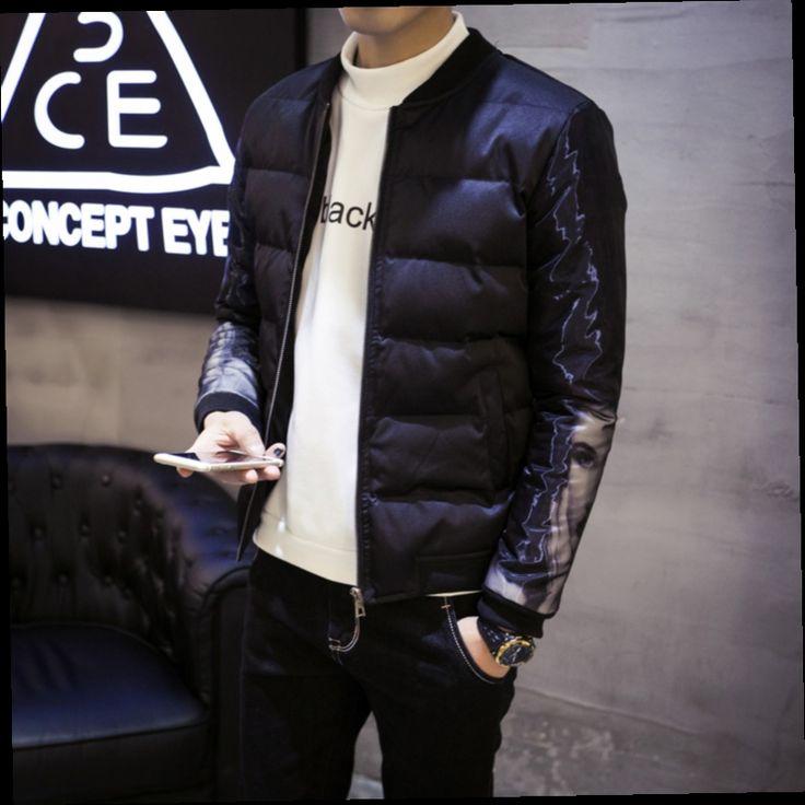 45.00$  Watch now - http://ali4x8.worldwells.pw/go.php?t=32759629056 - Winter Padded Jacket Men Korean Casual Printed Stand Collar Slim Fit Warm Parka Men 5XL jaqueta masculina acolchoada Design 45.00$