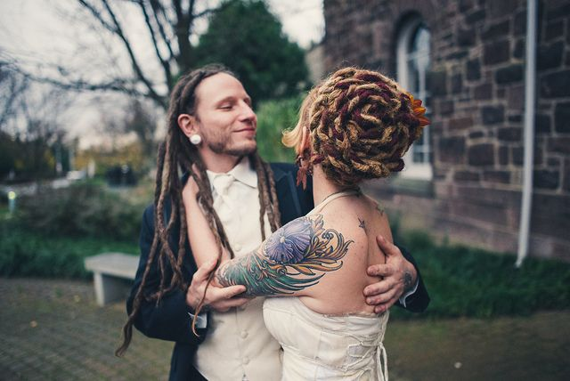 """Love these his & hers dreads with hers in a """"bridal"""" updo!"""