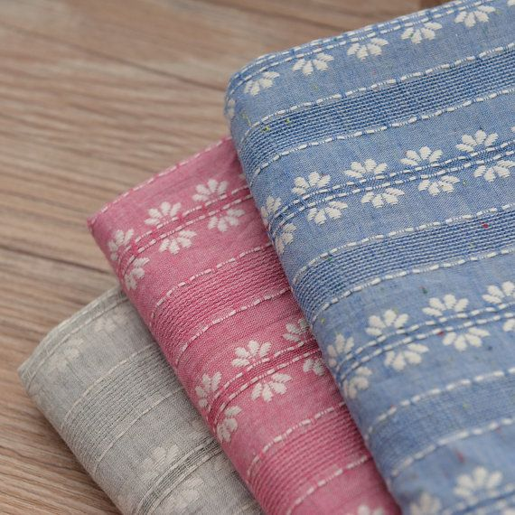 Striped Cotton Fabric with Embroidered Flower MJ407 by Sewingworld