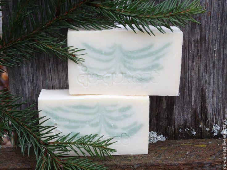 Купить Немного морозно и очень свежо - натуральное мыло - белый, елка, елочка, натуральное мыло