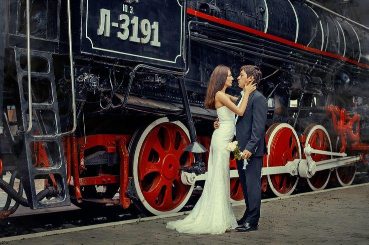 жених невеста, свадьба, ретро, паравоз
