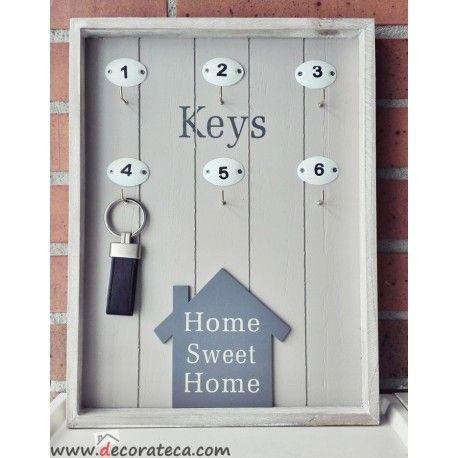 "Cuelga llaves de madera marrón ""Home sweet home"" - WWW.DECORATECA.COM"