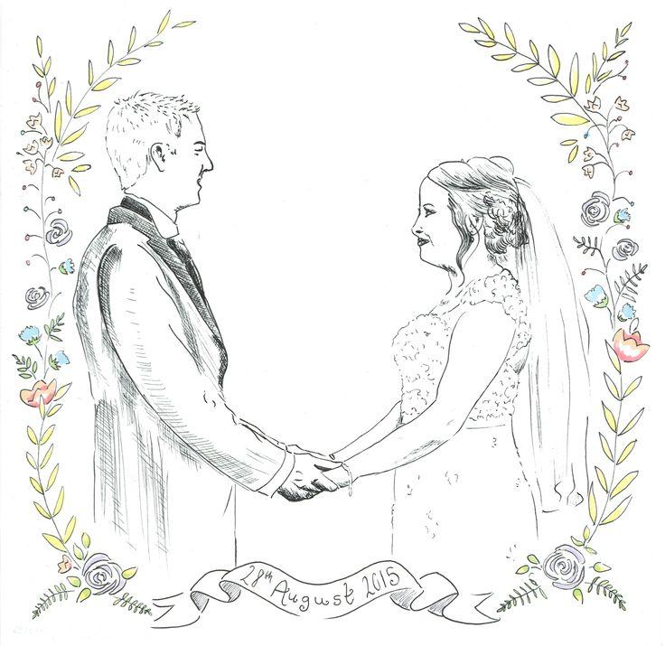 Custom Wedding Portrait - Pen and Ink