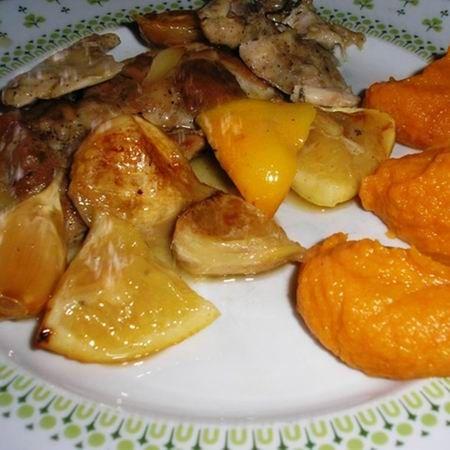 Citromos-fokhagymás csirke édesburgonya-pürével