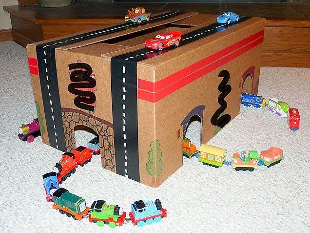 Tunnels and streets created out of an old cardboard box. #crafts http://www.ivillage.com/kids-crafts-make-cardboard-box/6-b-521598#521633