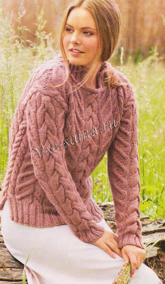 Пуловер с узором из кос, фото