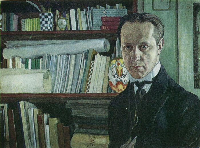 Добужинский Автопортрет. Гуашь, акварель. 1910