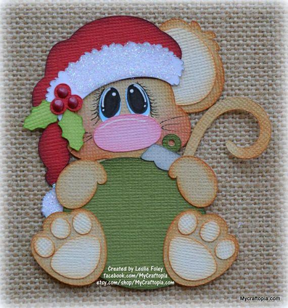 Ratón con un ornamento de Navidad Premade Scrapbooking adorno