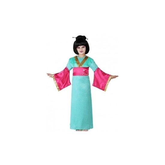 Japanse Geisha kostuum voor meisjes. Het kostuum bestaat uit een jurk. Accessoires niet inbegrepen. Materiaal: 100% polyester.