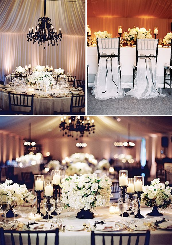 Wedding decor - Black and White, Romantic, Modern- really like the chandelier~