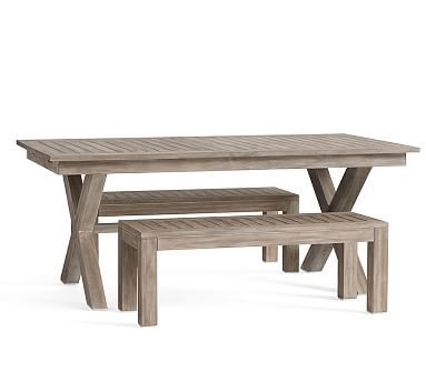 Indio Extension Dining Table + 2 Dining Benches