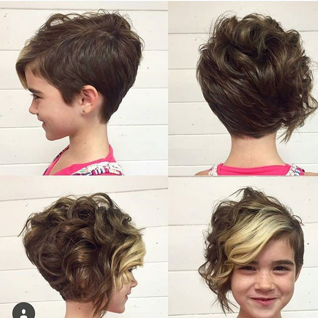 cute long curly pixie cut with bangs for girls