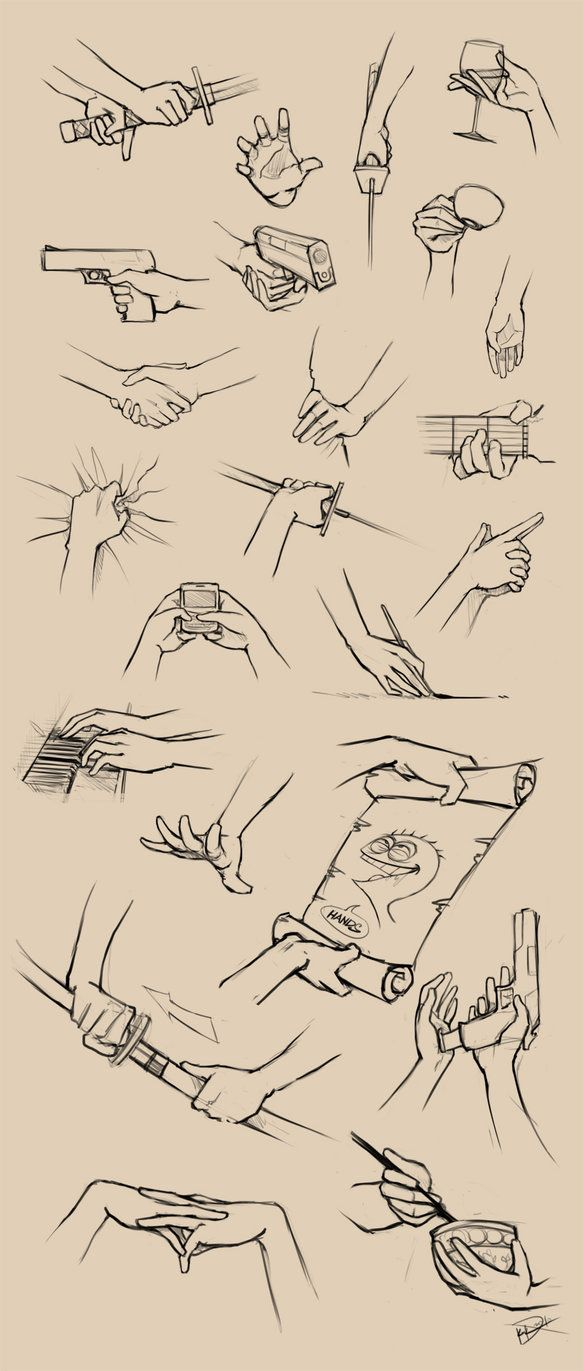 Hands. Personally I love drawing them and I'm good at it too so this gives me some ideas on what to draw