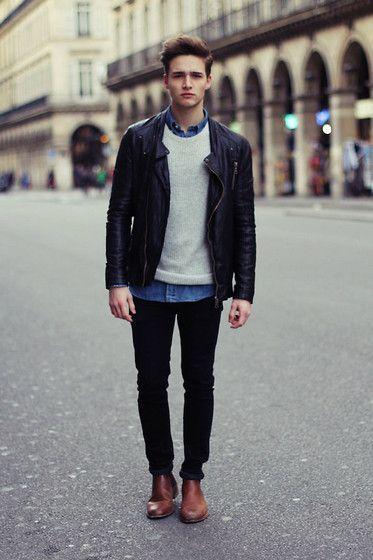 Leather Jacket Cream Sweater Over Denim Button Up Dark Skinny