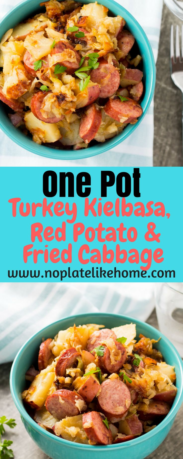 This hearty and tasty One Pot Turkey Kielbasa, Red Potato & Fried Cabbage is an easy weeknight meal for your meat and potatoes loving family. This recipe saves prep time by using Dole Cole Slaw mix. Add this complete meal to your dinner rotation or meal plan. Pin for later.