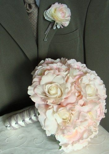 Bridal Bouquet Roses Ranunculus in Blush Pink with Groom's Boutonniere | SongsFromTheGarden - Wedding on ArtFire