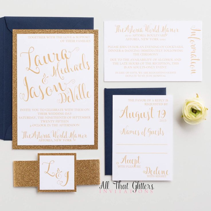 Gold glitter wedding invitations | gold and navy wedding invitations | fancy wedding invitations with glitter