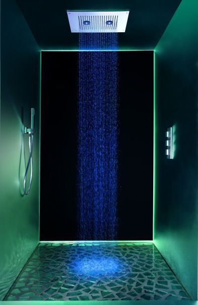 Must have shower! Led light shower head.. every drop that hits you is what ever color you choose it to be! I'm loving the blue ~ http://walkinshowers.org/best-led-shower-head-reviews.html