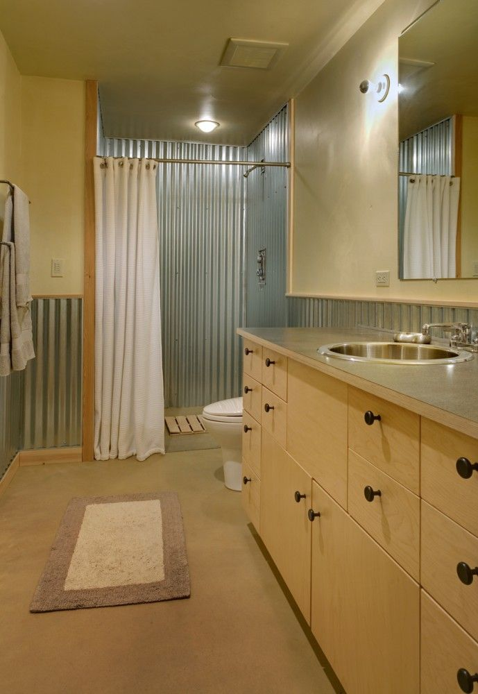 Corrugated metal shower- perfect for the barn guest suite.