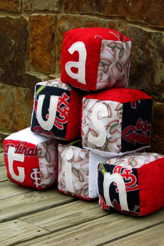 St. Louis Cardinals Baseball Soft Block Toy by http://www.LovePitterPatter.etsy.com  She also offers a baby shower registry with her shop! The mom-to-be will get 10% store credit back from EVERY LovePitterPatter purchase made from her guests, including gift certificates!