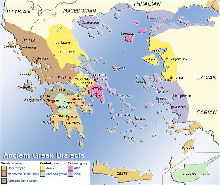 Map illustrating the distribution of the ancient Greek dialects