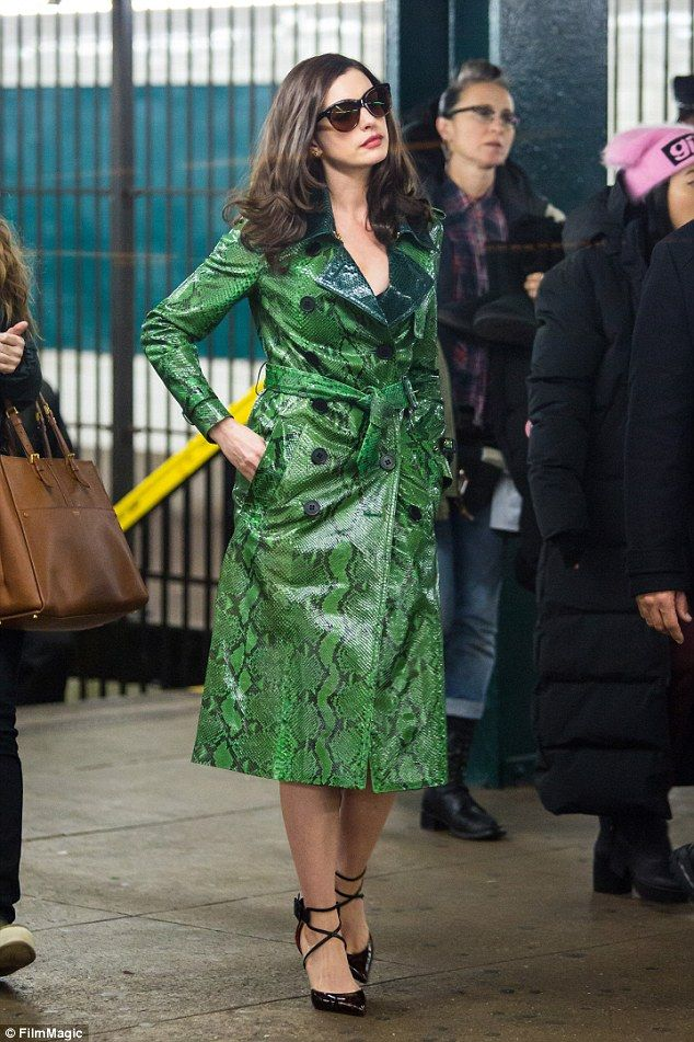 Slither into something seductive in Burberry like Anne Hathaway Click 'Visit' to buy now #DailyMail