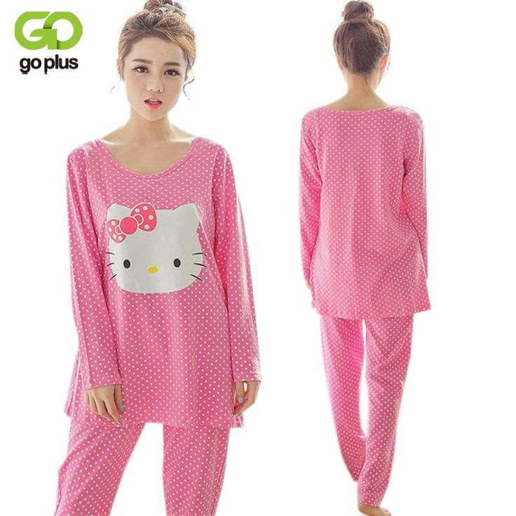 GOPLUS Cartoon Women Pajamas Sets Cotton Autumn Winter Long Sleeve Pink Nightgown Girls Pajamas Sets Hello Kitty Style Clothing