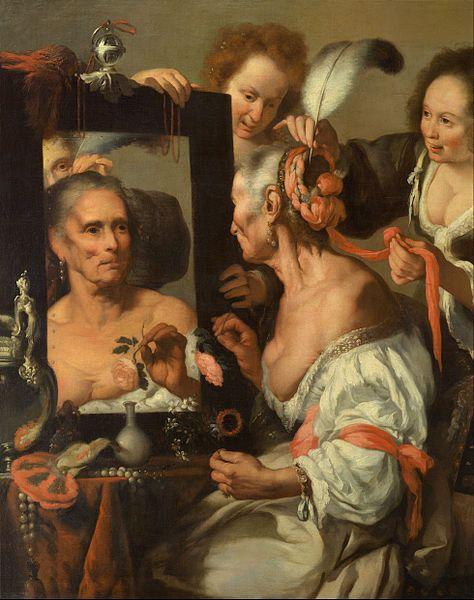 """Esta pintura titulada """"Vanitas"""", de Bernardo Strozzi, representa el tópico literario Vanitas vanitatum (""""Vanidad de vanidades""""). La belleza simboliza la caducidad de lo humano, una vanidad que acaba con la muerte."""